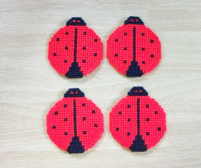 Handmade Beverage Coasters Shaped like Ladybugs