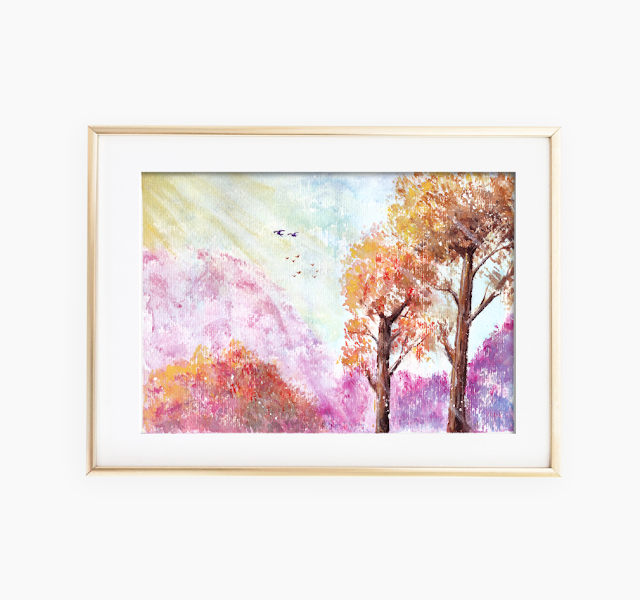 Magical Landscape Watercolor Painting