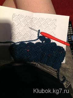 Ponto de crochê diagonal com gráfico