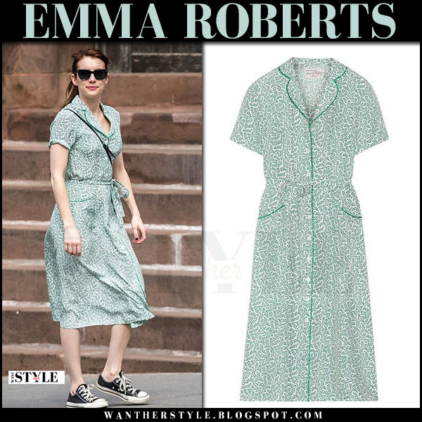 Emma Roberts in green printed midi dress hvn maria and black sneakers converse what she wore april 2017