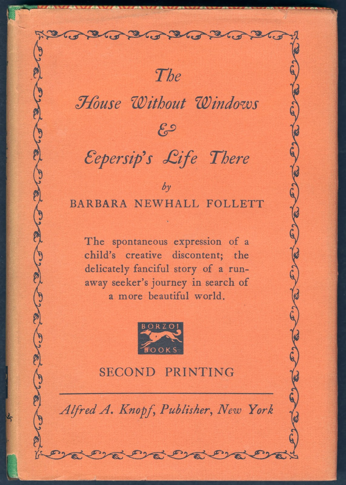 "The cover for the second printing of ""The House Without Windows & Eepersip's Life There."""