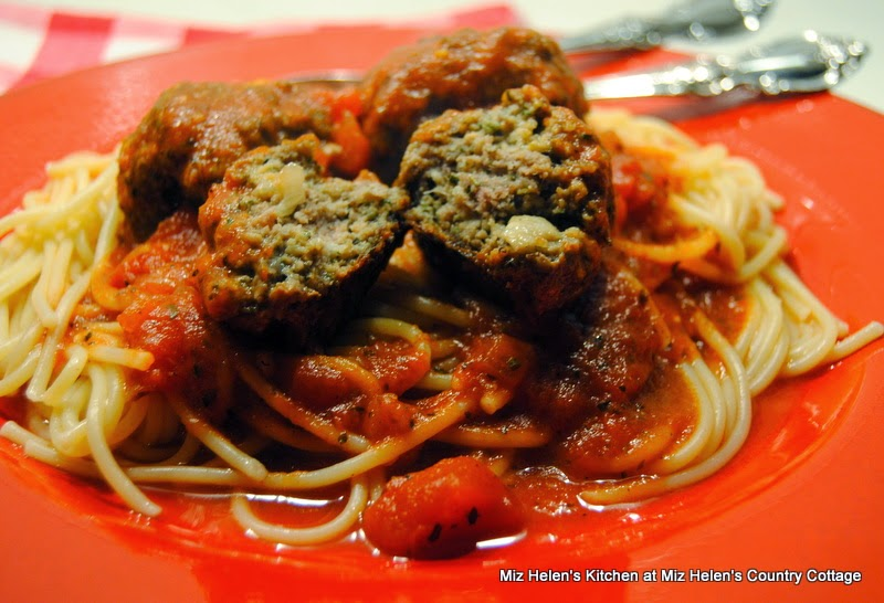 Italian Meatballs with Sauce and Spaghetti at Miz Helen's Country Cottage