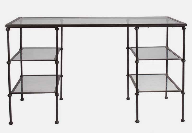 escritorio forja y cristal