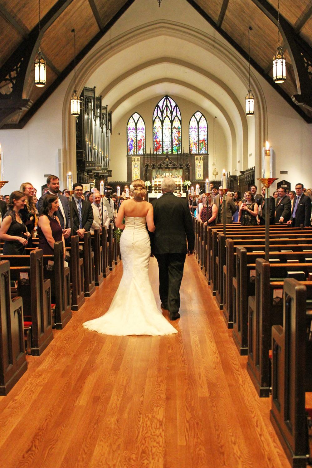 father walking bride down aisle at Grace St. Luke's