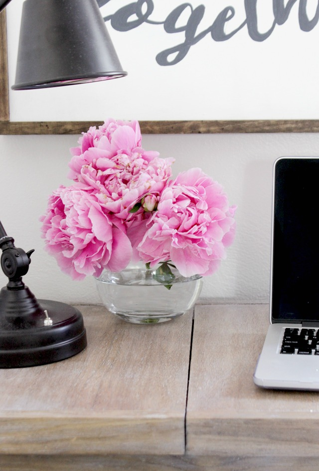 Blogger Desk Tour Peonies