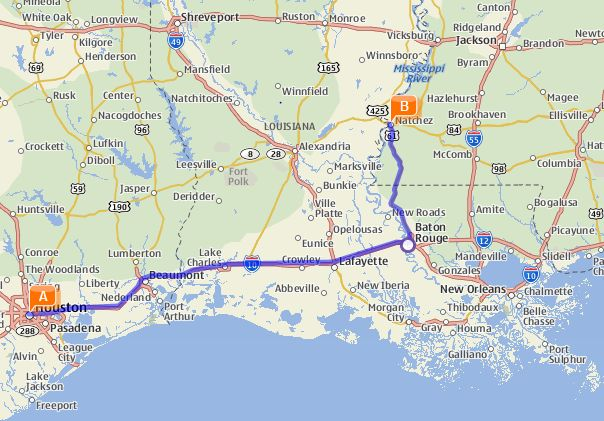 Our Road Trip Route A Is Houston Texas Starting Point B Natchez Mississippi Destination Most Of Drive Time Was Spent In Louisiana Though