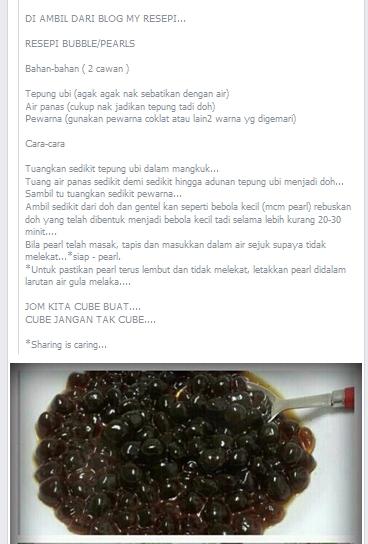 Cara Masak Boba : masak, Shakina, Farhan:, Resepi, Homemade, Pearl, Coolblog