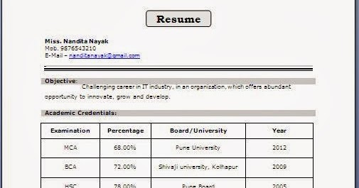 fresher resume format for mca student fresher resume format for mca