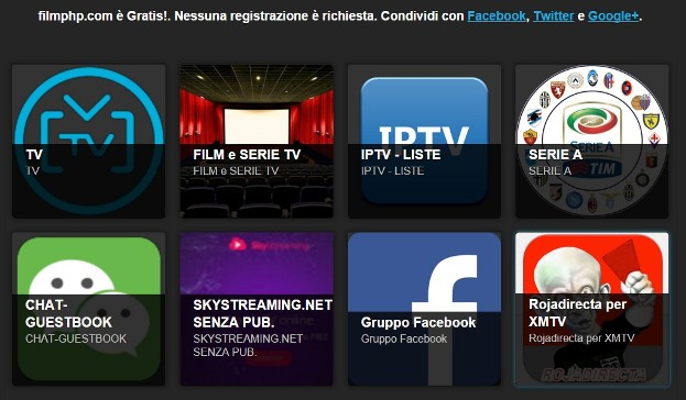 Sito Internet con TV Satellitare e Dig. Terrestre. Film in streaming, Serie TV. Filmphp è anche un Kodi Add-On con; Calcio gratis, film e canali IPTV.