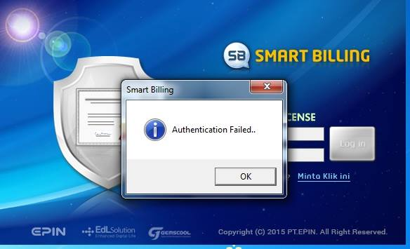 Cara Atasi Error Authentication Failed Smart Billing Server