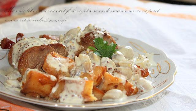 Muschiulet de porc cu cartofi la cuptor si sos de ciuperci cu smantana