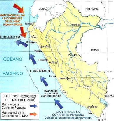 Dibujo del Mapa de Las Ecorregiones del Mar del Perú