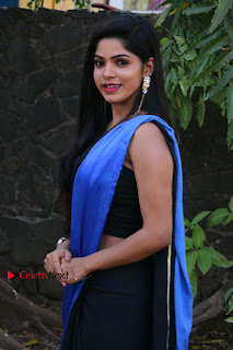 Actress Divya Bharthi Stills IN Blue Saree at Mupparimanam Press Meet Stills  0002.jpg