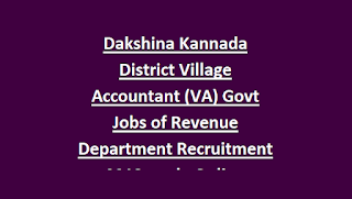 Dakshina Kannada District Village Accountant (VA) Govt Jobs of Revenue Department Recruitment Notification 2018 apply Online