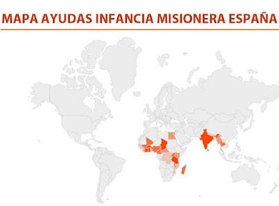 MAPA AYUDAS INFANCIA MISIONERA ESPAÑA