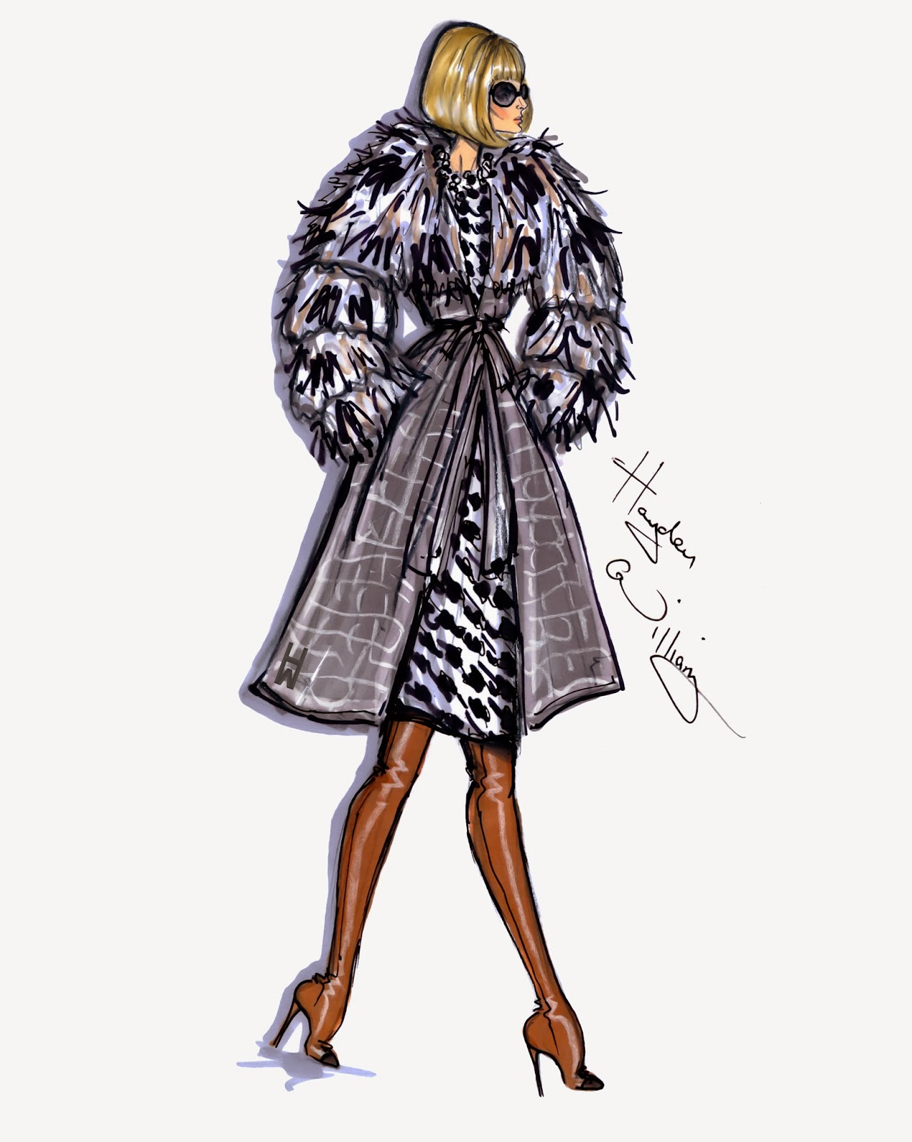 Hayden Williams Fashion Illustrations Style On The Go Anna Wintour By Hayden Williams