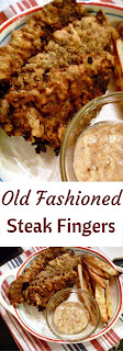 On the menu: Old Fashioned Steak Fingers with Roasted Oven Fries and some milk gravy as a dipping sauce.  Simple, deliscious, comfort food! - Slice of Southern