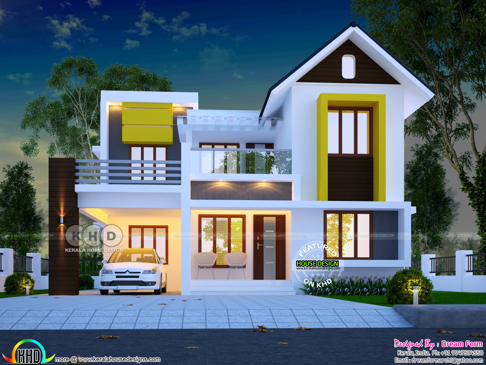 Cute And Dream Kerala Home Design 1600 Sq Ft Kerala Home