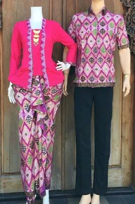 Kebaya Batik Couple Kombinasi Polos