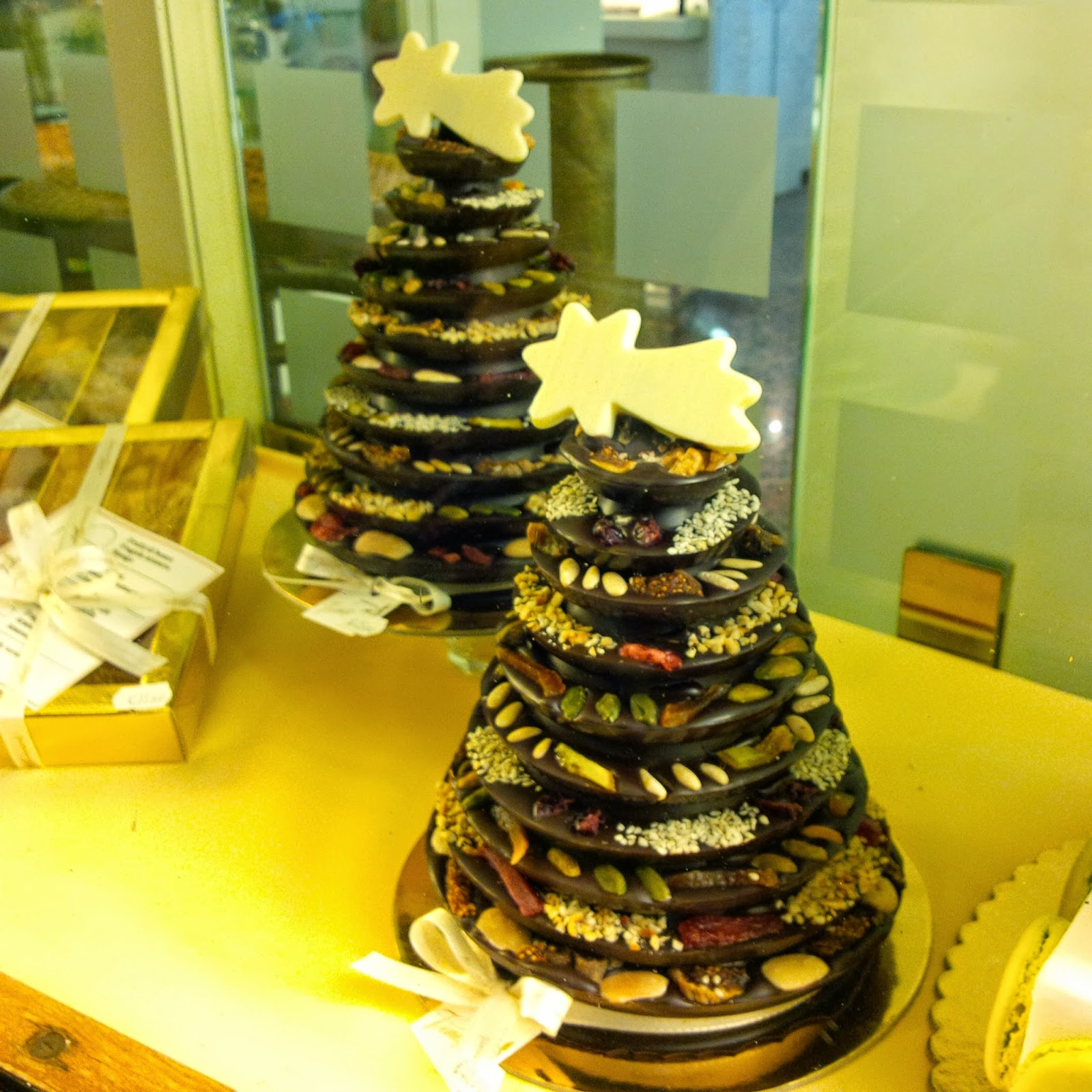 Christmas trees made out of chocolate florentines