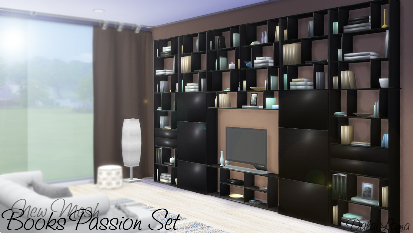 Very Impressive portraiture of My Sims 4 Blog: Books Passion Shelves and TV Stand by DalaiLama with #4E537D color and 1360x768 pixels