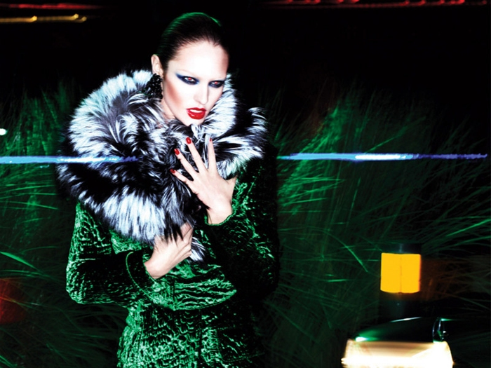 extravagant green velvet coat with fur collar