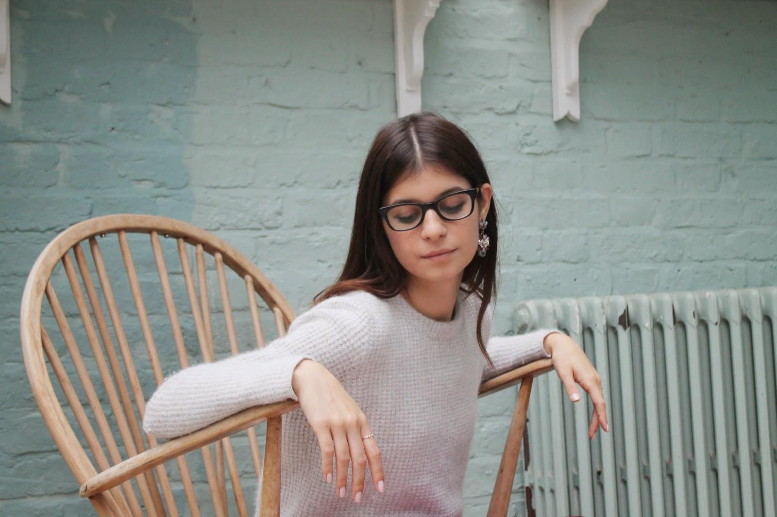 portrait, glasses, geeky, statement earrings, knit, fluffy, wooly