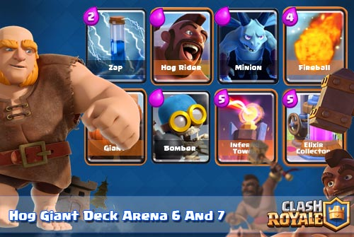 Strategi Deck Hog Rider Giant Arena 6 dan 7 Clash Royale