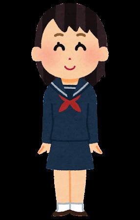 セーラー服の女子学生のイラスト(くるぶしソックス)