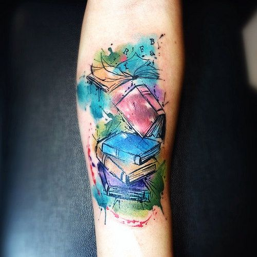 Watercolor Book Tattoos on Arm