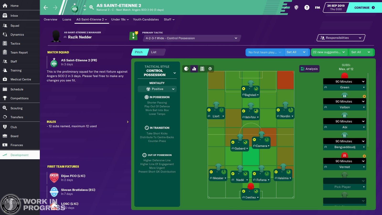 Youth Tactics screen in Football Manager 2020