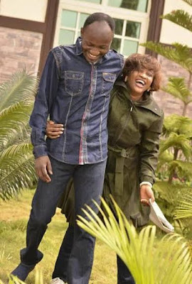 Apostle Suleman and his wife, Lizzy, pictured playing in their garden