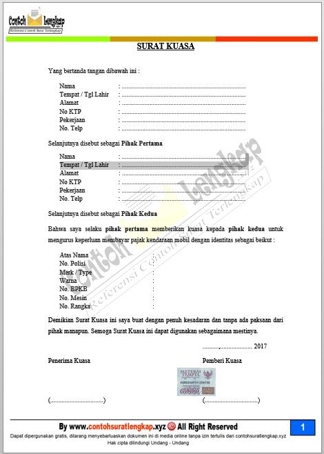 Surat Kuasa Bayar Pajak Motor : surat, kuasa, bayar, pajak, motor, Contoh, Surat, Kuasa, Tilang, Motor