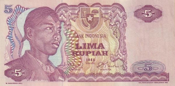5 rupiah 1968 depan