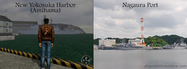 Was the location of the in-game harbor at Amihama (left) chosen based on Nagaura Port?