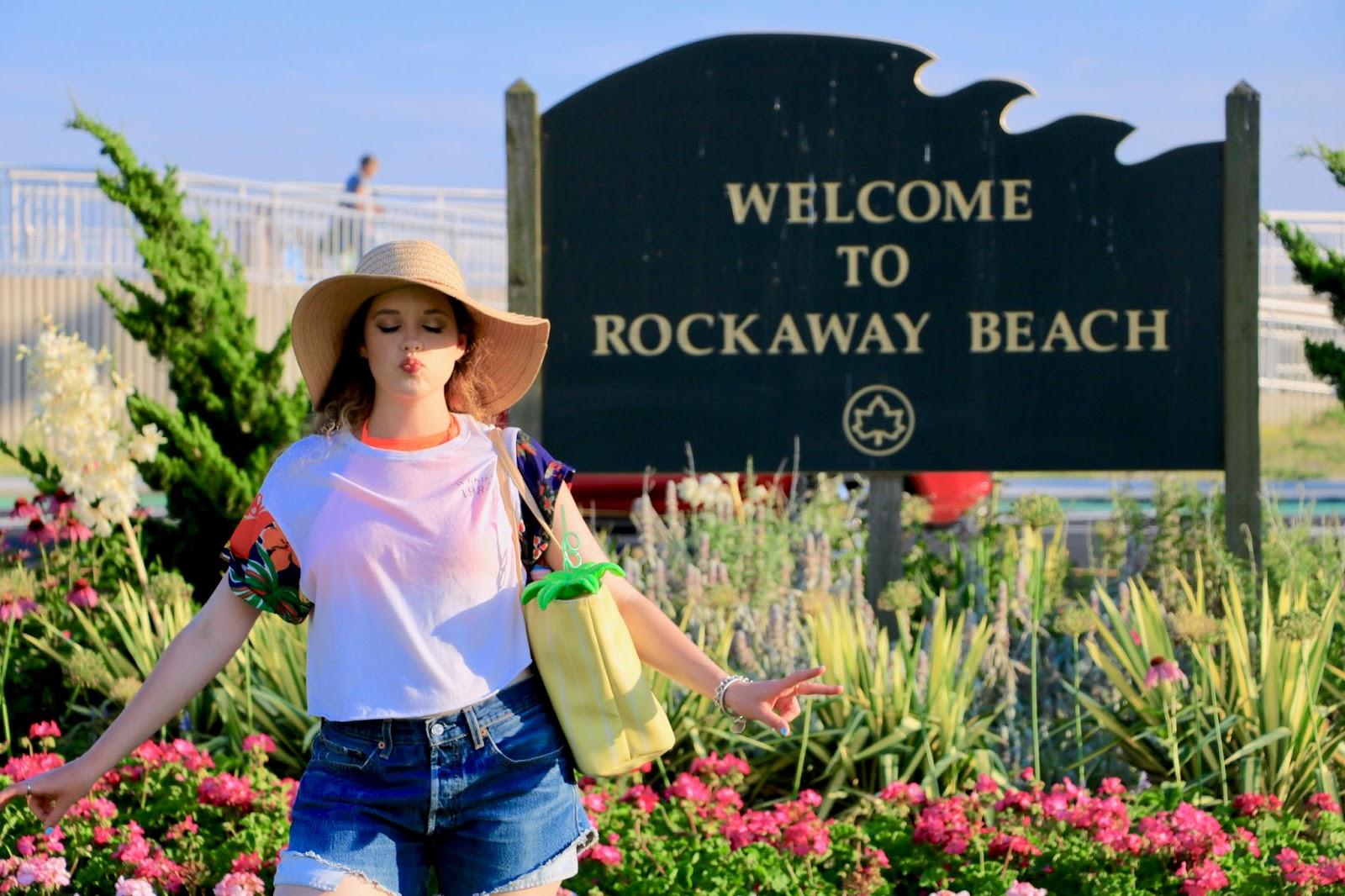 Fashion blogger Kathleen Harper in beach coverup at Rockaway NYC