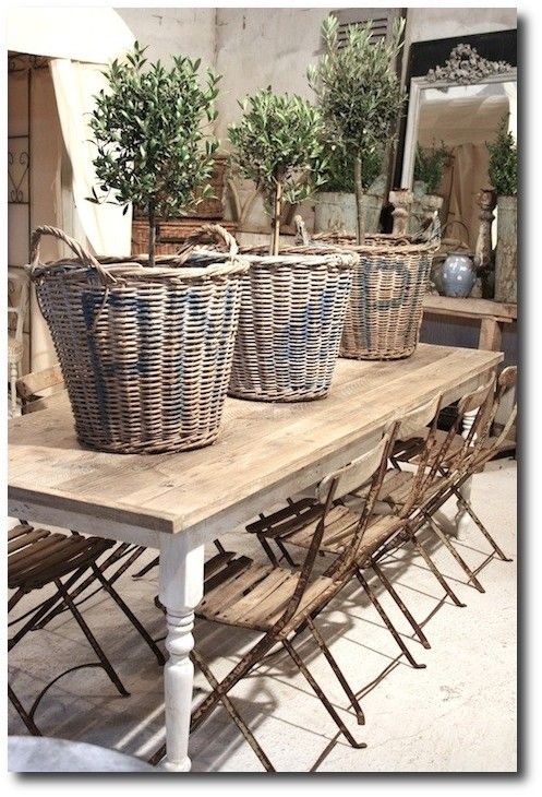 French baskets on #farmtable with cafe chairs in #Frenchfarmhouse decorated room