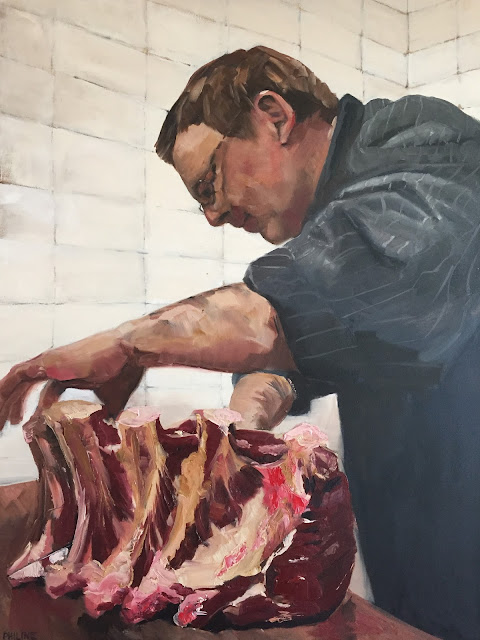 Portrait of a butcher, oil portrait painting by Philine van der Vegte