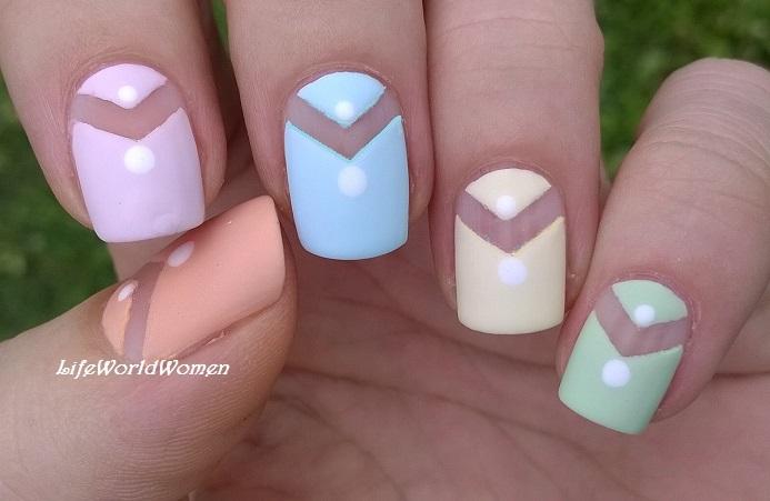 Life World Women: Pastel Matte Tape Nail Art Idea