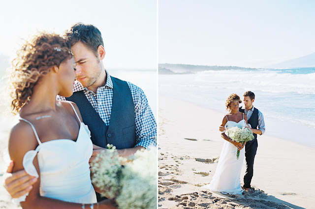 Portraits of a maui beach wedding couple