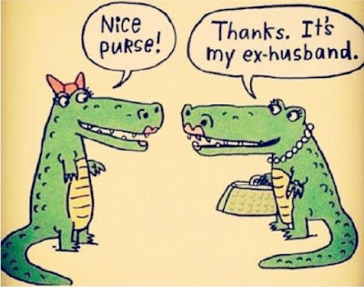 funny ex husband crocodile purse cartoon joke picture
