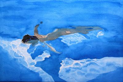 nu, nager nu, sous l'eau, recherche, reflet