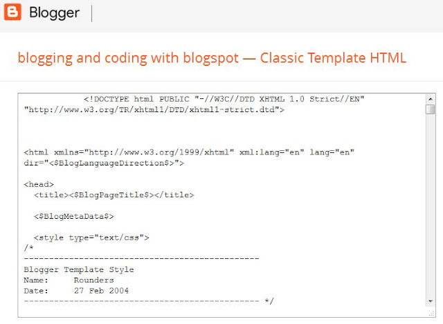 Classic Template HTML Editor in Classic Blogger Template