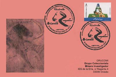 Tarjeta del Grucomi del matasellos de Piraguas y de la Cueva de Tito Bustillo