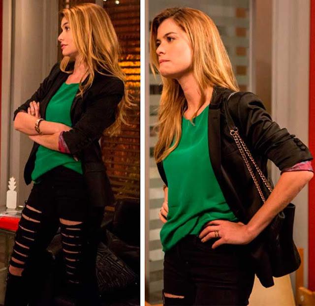 Diana (Aline Moraes) calça rasgada, look