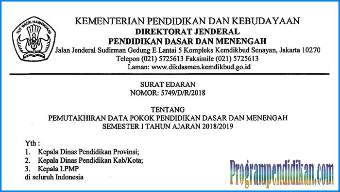 Pemutakhiran Dapodik Semester 1 Tahun Ajaran 2018/2019