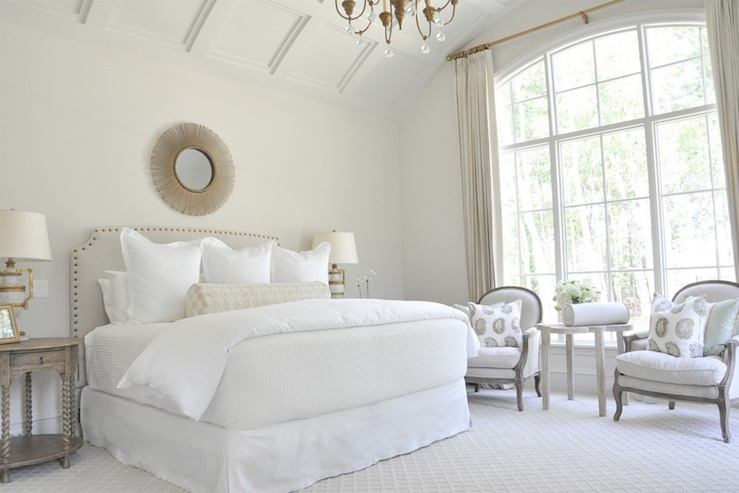 What A Gorgeous Neutral E This Is I Love The Curved And Detailed Ceiling Comfy Yet Elegant Chairs Starburst Mirror Above Bed