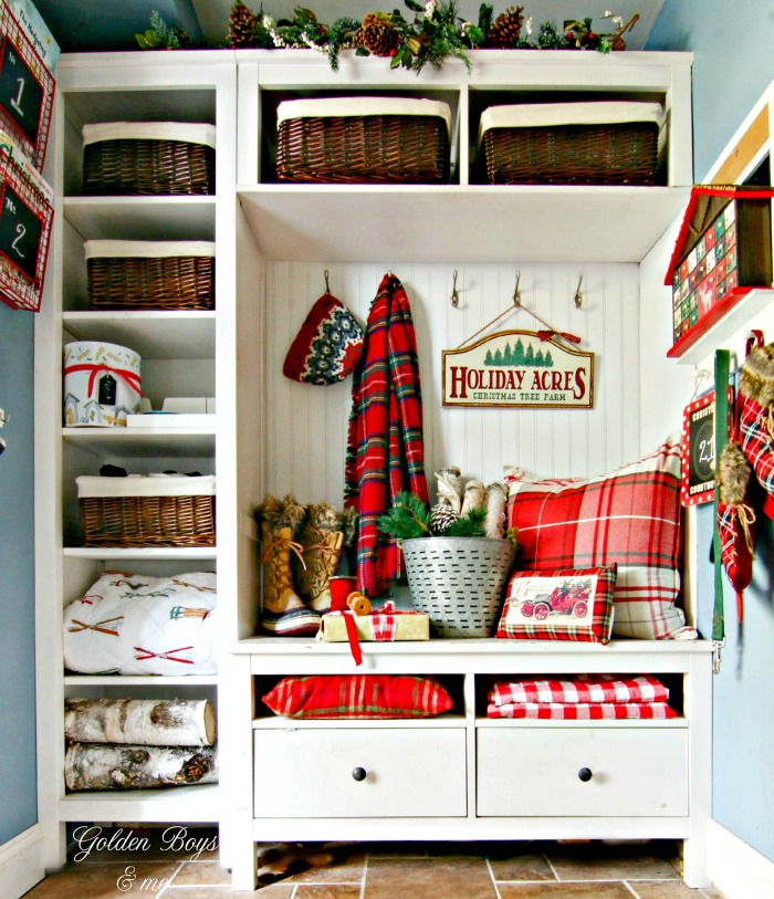 Ikea Hack Mudroom decorated for Christmas - www.goldenboysandme.com