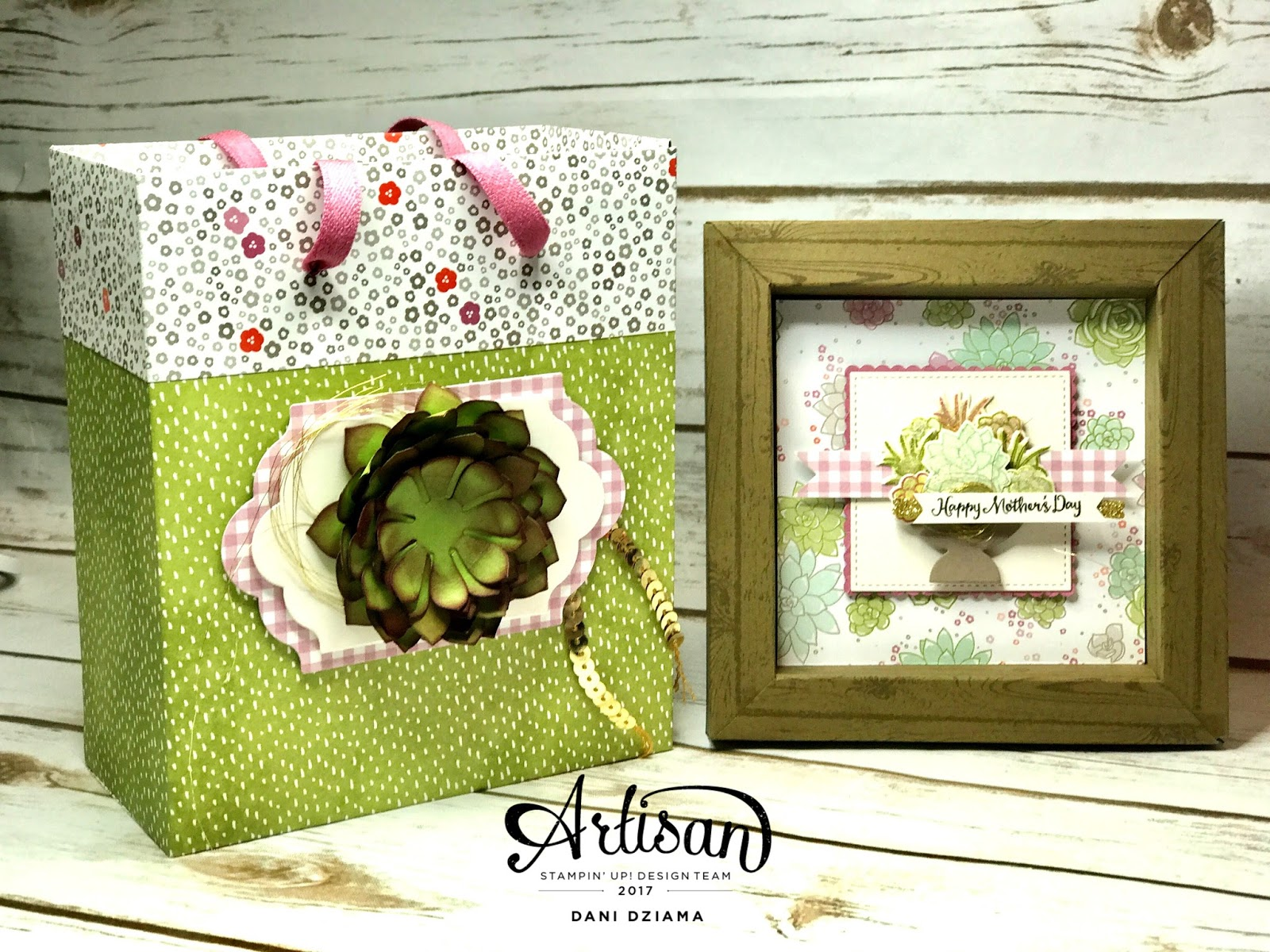 i created an adorable picture frame complete with a succulent picture and a gift bag this gift bag was created using 2 sheets of 12 x 12 succulent garden - Artisan Home Decor