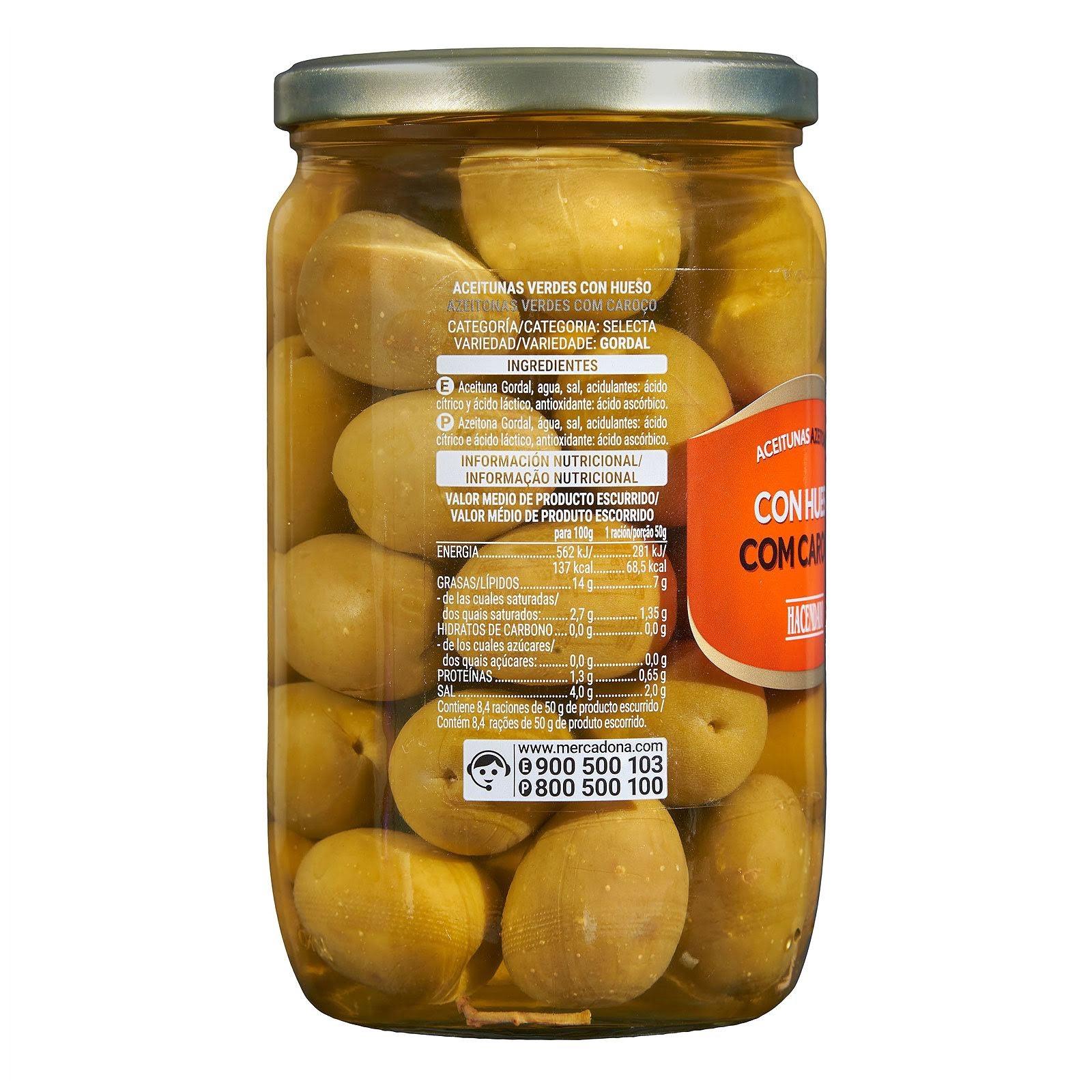 Aceitunas gordales con hueso Hacendado
